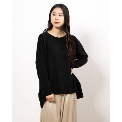 ラナン Ranan 裾切替ニットプルオーバー (ブラック)