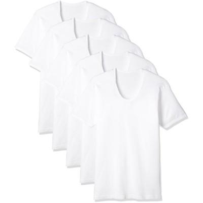 [セシール] 男の綿100% 半袖Uネック(5枚組セット) KO-882 ホワイト L