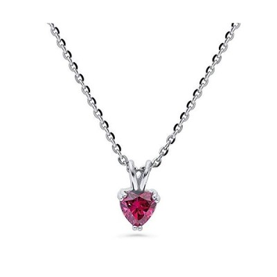 BERRICLE Rhodium Plated Sterling Silver Solitaire Heart Anniversary Wedding Pendant Necklace Made with Swarovski Zirconia Red 0.74 CTW【並行輸入