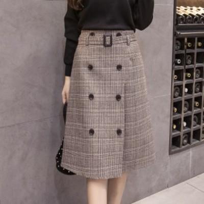 冬新作 ベルト付き グレンチェック ハイウエスト フレア ひざ丈 スカート 上品 トレンド オルチャン 体型カバー