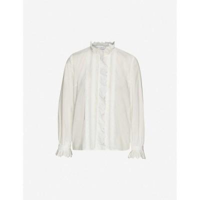 クローディ ピエルロ CLAUDIE PIERLOT レディース ブラウス・シャツ トップス Ruffled-trim cotton shirt ECRU