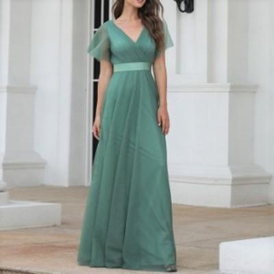 ドレス ワンピース ワンピースドレス ロング ロングパーティードレス マキシドレス お呼ばれドレス 袖ありドレス 袖付き ドレス 半袖ドレ