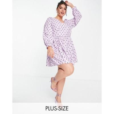 クローゼット ドレス 大きいサイズ レディース Closet London Plus volume sleeve tiered smock mini dress in lavender heart print エイソス ASOS