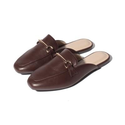 (Shoes in Closet/シュークロ) スクエアトゥ ビット フラットバブーシュサンダル/レディース ダークブラウン