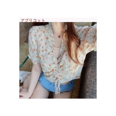 【送料無料】韓国風 デザイン 感 フローラル ミニ丈 襟 シャツ 女 夏 ? 雅 風 半袖 | 364331_A62822-4430548