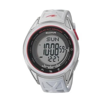 SOMA(ソーマ) ランニングウォッチ RideONE SOLAR ALTI COMPASS  NS24 スポーツ時計 (ホワイト/レッド F)