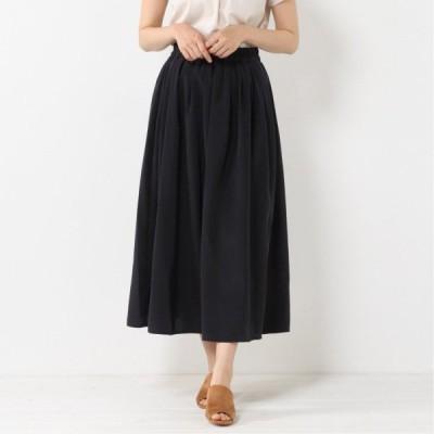 ウエストゴムで調節しやすい◎サテンギャザースカート ネイビー M L