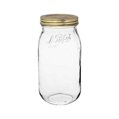 Le Parfait スクリュートップジャー 1個  広口フレンチガラス保存ジャー  廃棄物ゼロパッケージ1 2000ml  64オンス  ゴールド蓋