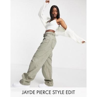 エイソス ASOS DESIGN レディース ジーンズ・デニム ボトムス・パンツ High Rise 'Relaxed' Dad Jeans With Paper Bag Waist In Khaki カーキ