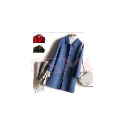 上品ハーフコート ブルー ウール100% リバーコート ダブルフェイスコート 大人 一枚仕立て マント ポンチョ S〜XL
