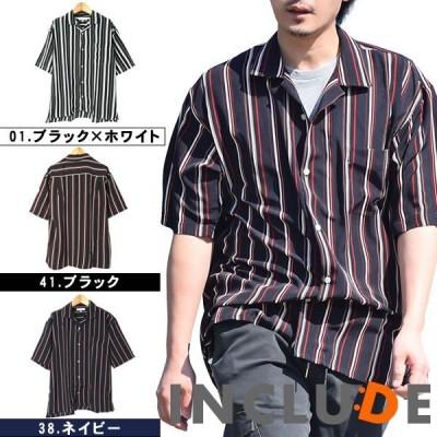 ワイドシルエット ストライプ シャツ オープンカラー 薄手 ビッグシャツ ワイドシャツ ロンドンストライプ 半袖シャツ メンズ