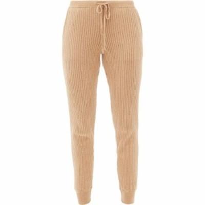 スキン Skin レディース スウェット・ジャージ ボトムス・パンツ Mazie ribbed cotton-blend track pants Camel brown