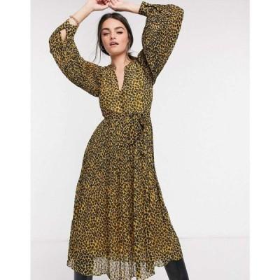 トラフィックピープル Traffic People レディース ワンピース ミドル丈 ワンピース・ドレス Waist Tie Midi Dress In Leopard Print マスタード