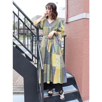 MURUA 【WEB限定】スウィッチフラワーワンピース(マスタード)