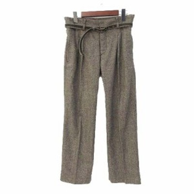 【中古】フローレント FLORENT パンツ 38 M 茶 ブラウン ウール シルク混 ボタンフライ 無地 シンプル レディース