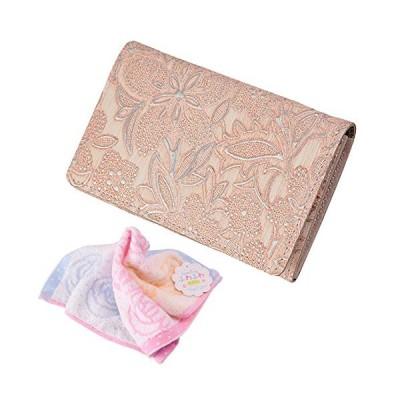セット品 (アルカン) クレア 名刺入れ レディース 3450311 (ピンク) & バラ柄ハンドタオル