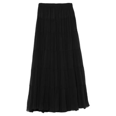WANDERING ロングスカート ブラック 38 シルク 100% / レーヨン / ナイロン / ポリウレタン ロングスカート