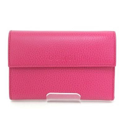 グッチ GUCCI レザー 三つ折り財布 ピンク アウトレット ○Gマーク有り 346057 コンパクトウォレット 未使用品