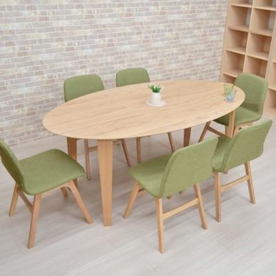 ダイニングテーブルセット 楕円 7点 幅180 marut180-7-pani339naok ナチュラルオーク色/NA-OAK GR色 ダイニングセット 6人用 アウトレット お客様組立品 31s-8k