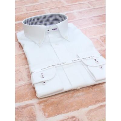 【タカキュー】 綿100% 形態安定 スリムフィット ボタンダウン長袖シャツ メンズ ホワイト M:39-80 TAKA-Q