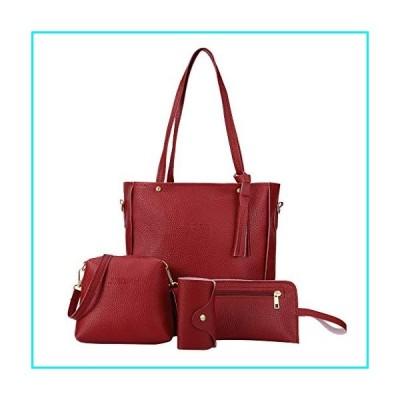 Handbags for Women Fashion Tote Bags Shoulder Bag Top Handle Satchel Purse Set 4pcs (One size, Red)【並行輸入品】