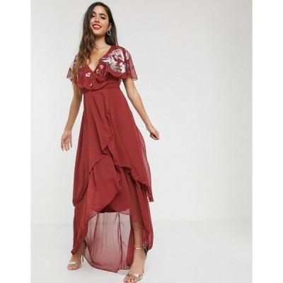 エイソス レディース ワンピース トップス ASOS DESIGN maxi dress with cape back and dipped hem in embroidery Burgundy