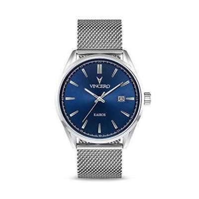 全国送料無料!Vincero 高級メンズKairos腕時計 - 42mm アナログ腕時計 - 日本製クォーツムーブメント ブルー