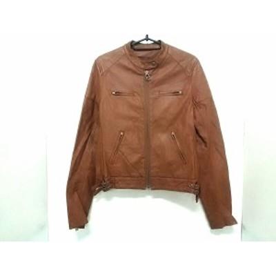 マウジー moussy ライダースジャケット サイズ2 M レディース ブラウン 合皮/冬物【中古】