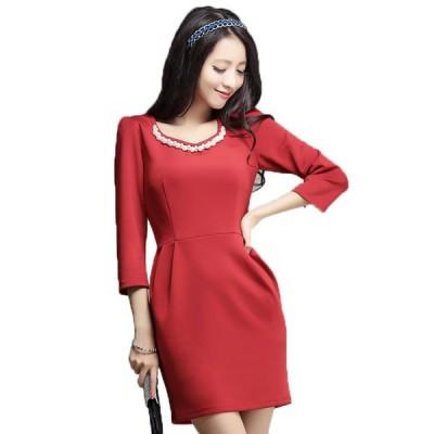 結婚式 ミニドレス 予約 ビジュー 縫製 七分袖 袖あり ワンピース 赤 緑 黒 S-3L 大きいサイズ YJ-6667   送料無料