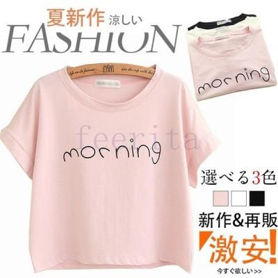 クールネック Tシャツ 英文字 半袖Tシャツ 半袖 Tシャツ フェミニン 春夏 レディース