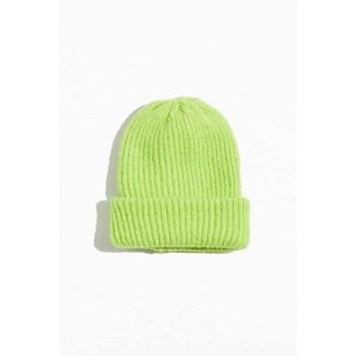 アーバンアウトフィッターズ Urban Outfitters メンズ ニット ビーニー 帽子 Furry Oversized Beanie Lime