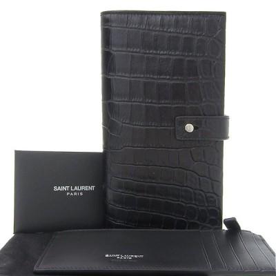 本物保証 布袋付 超美品 サンローラン SAINT LAURENT サックドジュール 二つ折り 長財布 レザー ブラック ART507619 1118