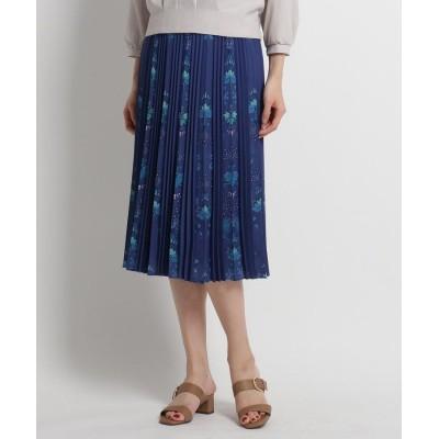 SunaUna(スーナウーナ) 【洗える】フラワーアコーディオンプリーツスカート
