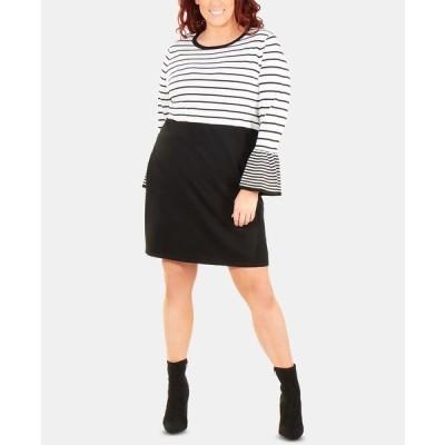 ニューヨークコレクション ワンピース トップス レディース Plus Size Striped Bell-Sleeve Dress Helga