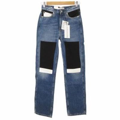 【中古】未使用品 カルバンクライン Calvin Klein Jeans HIGH RISE PATCHWORK JEANS ハイウエスト デニム パンツ 26