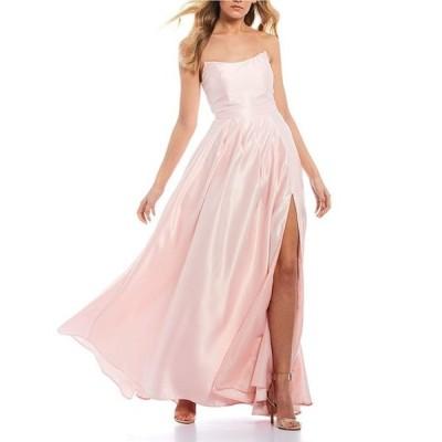 ビーダーリン レディース ワンピース トップス Strapless Point Neckline Satin Long Dress