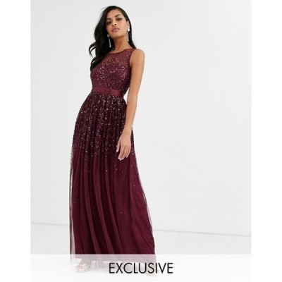 アメリアローズ レディース ワンピース トップス Amelia Rose bridesmaid maxi dress with scattered embellishment in wine