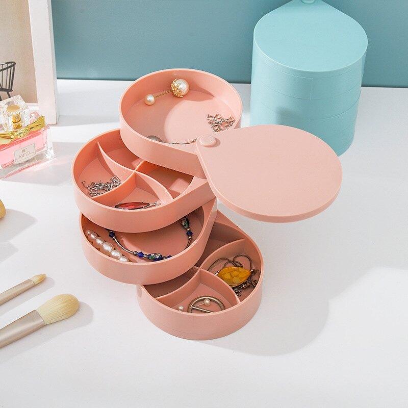 ,免運&飾品收納盒 首飾盒 收納盒 整理盒 可旋轉 塑料 加厚 防塵多格 戒指耳環首飾 飾品收納 收納