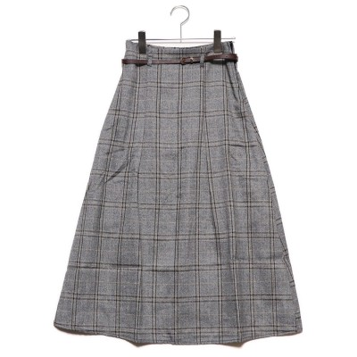 スタイルブロック STYLEBLOCK ベージュミックスチェック細ベルト付きロングスカート (ブラックミックス)