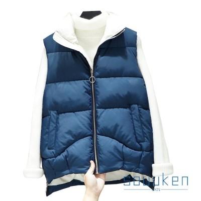 中綿ベスト 秋冬 レディース 防寒  ショート丈 立ち襟 ノースリーブ ダウンベスト 大きいサイズ ゆったり