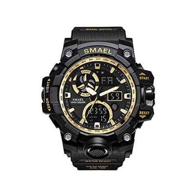 Militaryメンズスポーツアナログクォーツ腕時計デュアル表示アラームデジタルウォッチLEDバックライト付き 51mm ゴールド