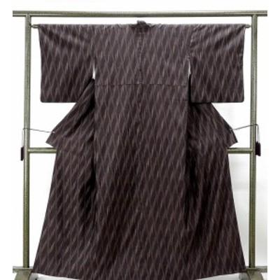 紬 正絹 幾何模様 越後絣 身丈160cm 裄丈62.5cm 紬 美品 リサイクル 着物