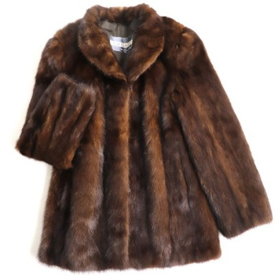 極美品▼MOONBAT MINK ムーンバット ミンク 本毛皮コート ブラウン 毛質艶やか・柔らか◎