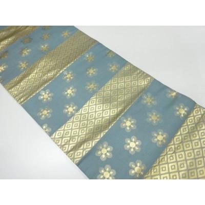 リサイクル 川島織物製 横段に菱・花模様織出し名古屋帯