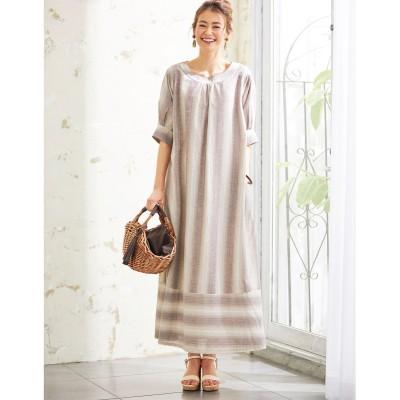 【大きいサイズ】 綿混先染めロング丈ワンピース(オトナスマイル) ワンピース, plus size dress
