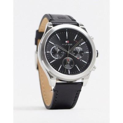 トミー ヒルフィガー メンズ 腕時計 アクセサリー Tommy Hilfiger sunray black leather watch 1791740 Black