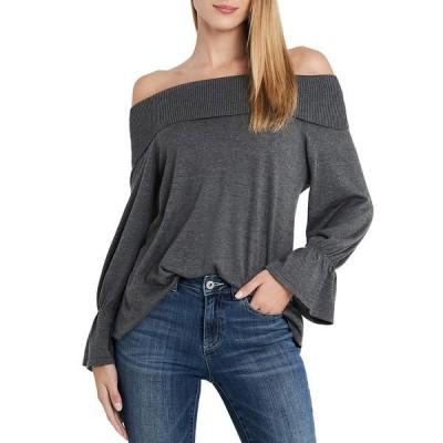 セセ レディース ニット&セーター アウター Off-The-Shoulder Long Sleeve Bell Cuff Sweater Medium Heather Grey