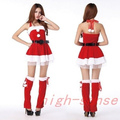 サンタコスプレクリスマスワンピース衣装可愛いAラインサンタクロース赤大人女性コスプレクリスマスコスプレ衣装サンタコス