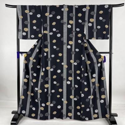 小紋 美品 名品 菊 鹿の子 黒 袷 身丈163.5cm 裄丈66.5cm M 正絹 中古