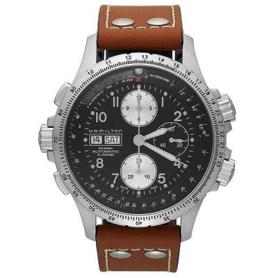 ハミルトン 腕時計 アクセサリー レディース Watch, Men's Swiss Automatic Chronograph Khaki X-Wind Brown Leather Strap 44mm H77616533 None